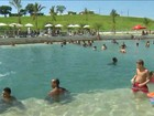 Em mais um dia de calor, piscina do parque de Deodoro recebe cariocas