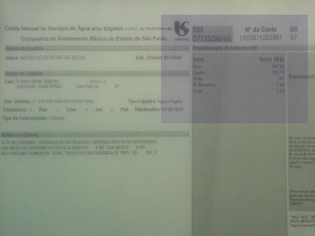 Conta de água de salão na Zona Norte aponta gasto de R$883,24 (Foto: Arquivo Pessoal)
