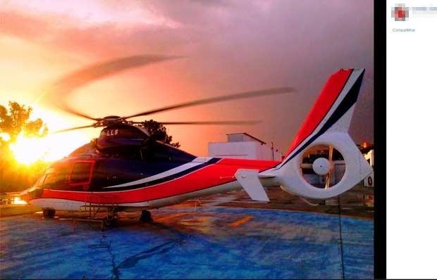 Foto do helicóptero postada em rede social do mecânico Leandro. (Foto: Reprodução/Facebook)