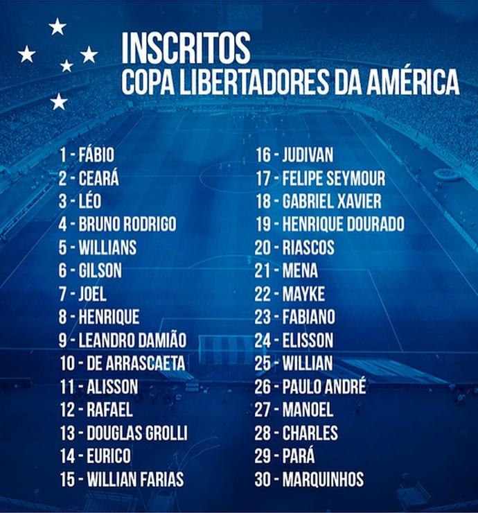 Numeração do Cruzeiro na Libertadores (Foto: Reprodução / Facebook do Cruzeiro)