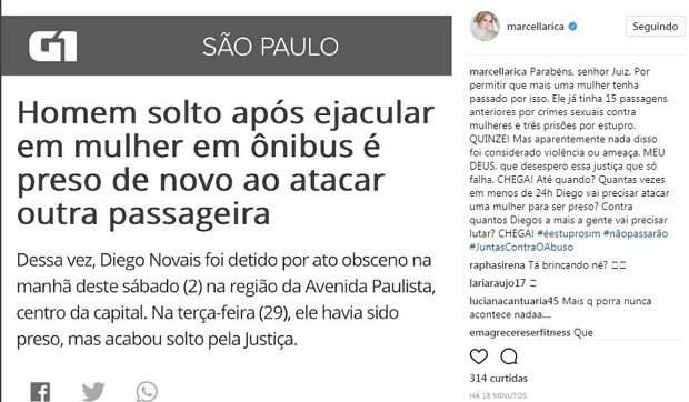 Post de Marcella Rica (Foto: Reprodução/Instagram)