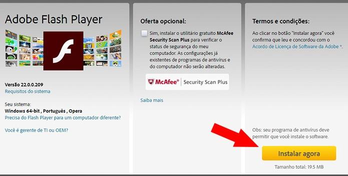 Baixe o instalador do Flash (Foto: Reprodução/Paulo Alves)