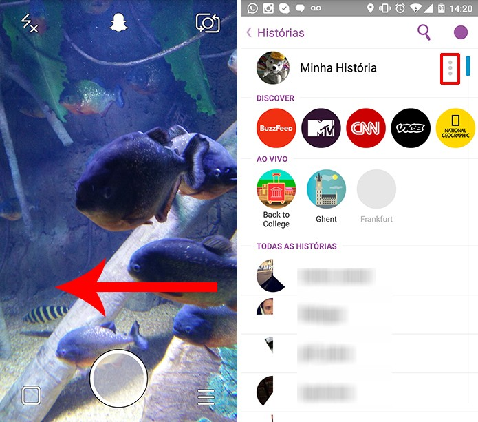Snapchat pode salvar história de cada vez, caso o usuário prefira (Foto: Reprodução/Elson de Souza)