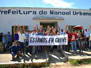 Servidores municipais de Manoel Urbano ficaram 21 dias de greve  (Foto: Divulgação/Sinteac)