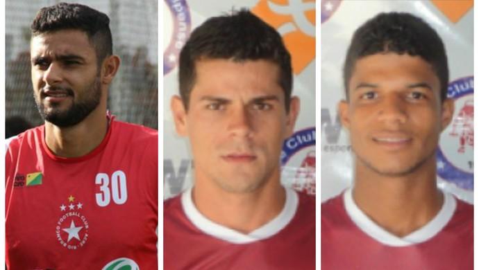 Atacante Rafael Magalhães, volante Flávio e lateral Caíque são as novidades no Confiança para 2015 (Foto: João Paulo Maia/GloboEsporte.com e Divulgação/Jacuipense)