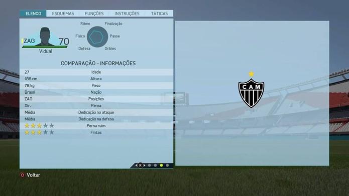 Zagueiro Vidual - Atlético Mineiro (Foto: Reprodução/Lucas Mendes)