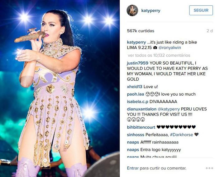 Katy Perry em show no Peru  (Foto: Reprodução )