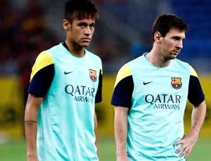 lionel messi neymar barcelona treino (Foto: Agência Reuters)