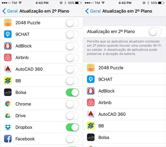 Desative a atualização de apps em segundo plano (Foto: Foto: Reprodução/Helito Bijora)