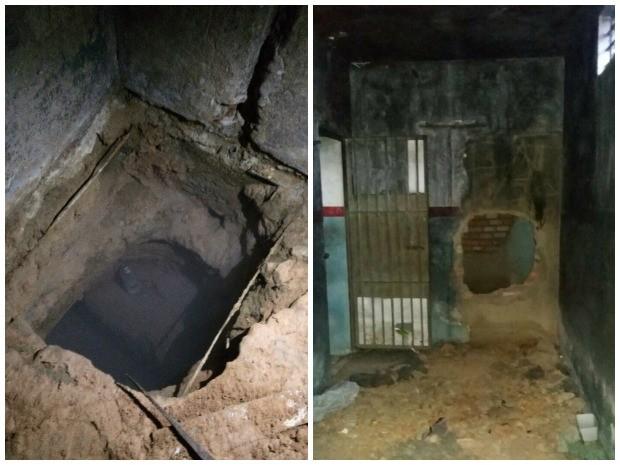 Presos usaram pá e picareta para fazer buracos (Foto: Arquivo pessoal)