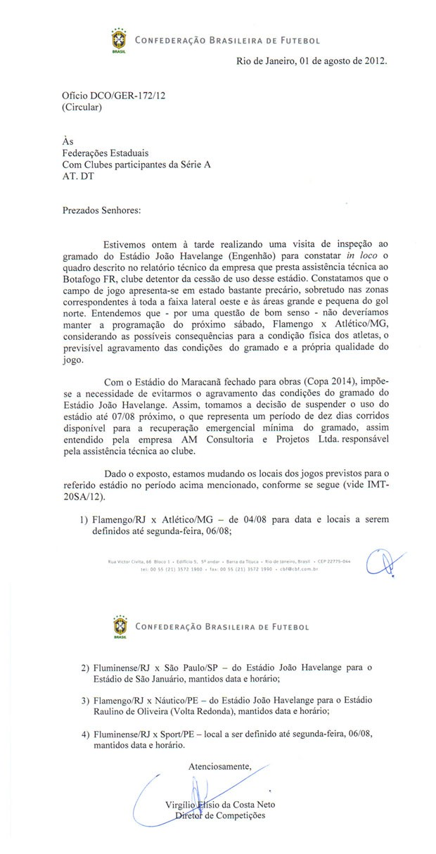 Documento da Cbf sobre o Engenh&#227;o (Foto: Divulga&#231;&#227;o)