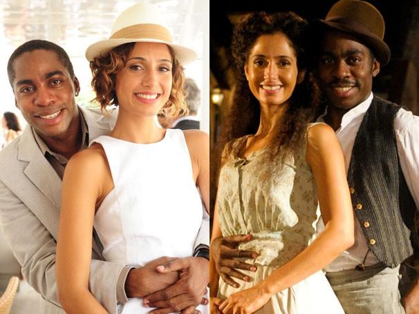 Lázaro Ramos com Camila Piranga em 'Insensato Coração (2011) e 'Lado a Lado' (2012) respectivamente (Foto: Divulgação/ Globo)