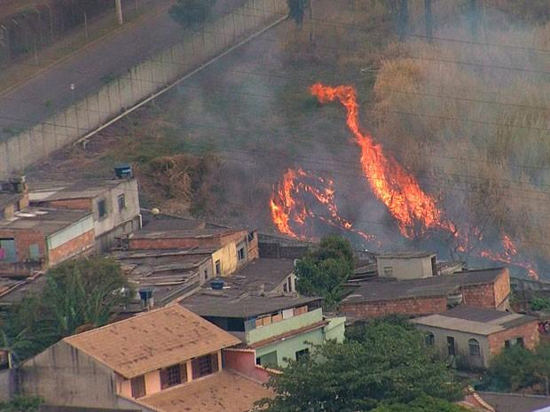 Incêndio atinge vegetação na Região do Barreiro, em Belo Horizonte (Foto: Reprodução / TV Globo)