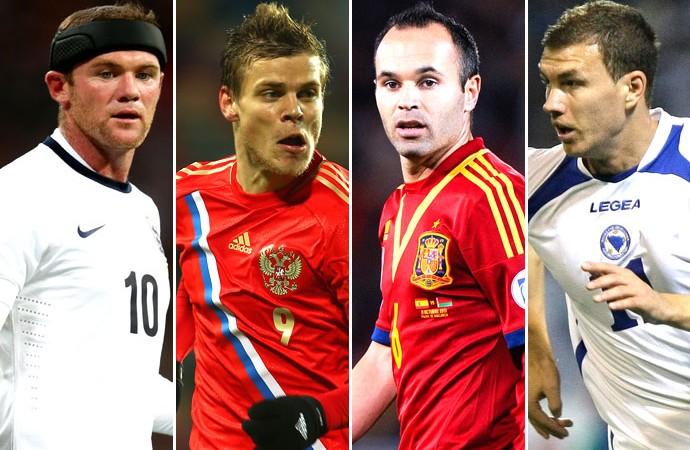 Montagem Eliminatórias da Europa, Rooney, Kokorin, Iniesta e Dzeko (Foto: Editoria de Arte)