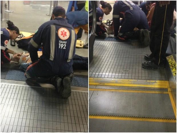 Idoso foi atendido pela equipe do Samu e levado para o Pronto Socorro (Foto: Marcelo Marques/ G1)