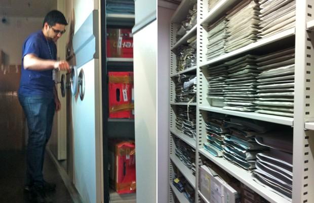 Servidor responsável abre cofre da sala onde ficam armazenados documentos do mensalão (Foto: Mariana Oliveira / G1)