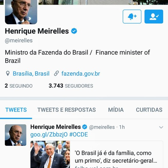 Henrique Meirelles adere ao Twitter (Foto: Reprodução)
