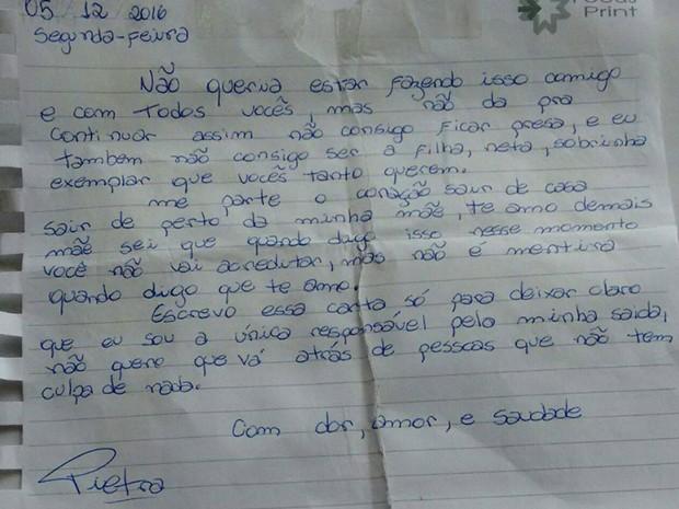 Pietra deixou uma carta aos familiares ao desaparecer em SP (Foto: Reprodução/Facebook)