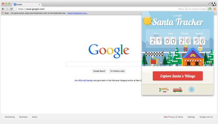 Extensão para Chrome Google Santa Tracker permite seguir o Papai Noel (Foto: Reprodução/Google)