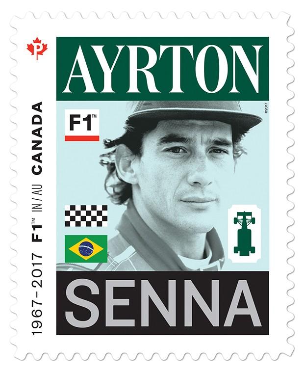 Selo em homenagem ao piloto brasileiro Ayrton Senna, com duas vitórias no GP Canada (Foto: Divulgação/RF1)