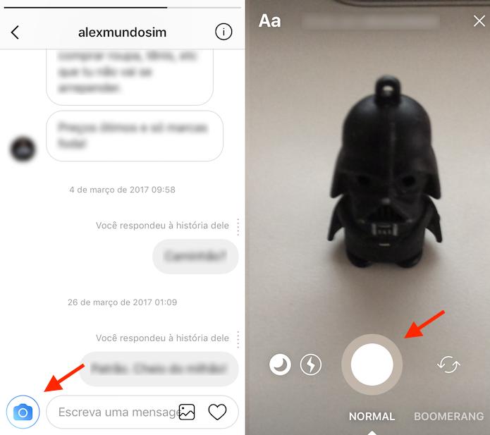 Caminho para enviar uma foto ou vídeo temporário no Instagram Direct (Foto: Reprodução/Marvin Costa)