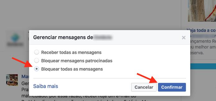 Opção para bloquear mensagens de uma página do Facebook (Foto: Reprodução/Marvin Costa)