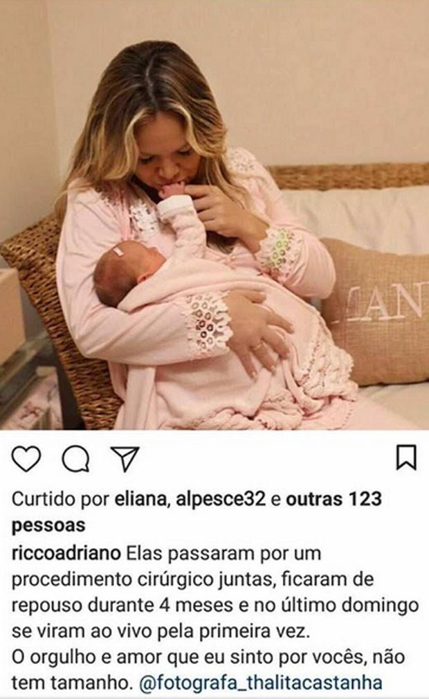 Adriano Ricco elogia Eliana e a filha (Foto: Reprodução)
