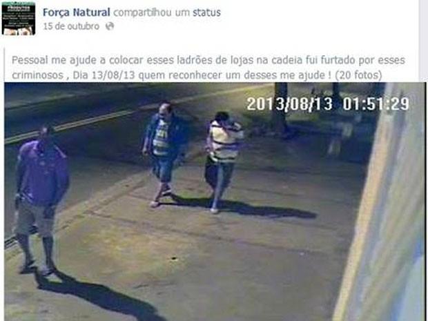 Print do Facebook com as imagens dos criminosos que assaltaram a loja do ex-jogador de futebol, decapitado no Rio de Janeiro (Foto: Reprodução/ Facebook)