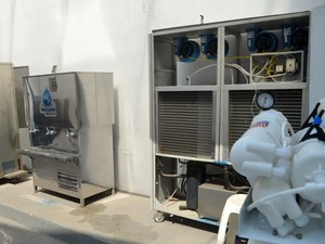 Máquina criada por engenheiro pode produzir até cinco mil litros de água, em Valinhos (Foto: Fernando Pacífico / G1 Campinas)