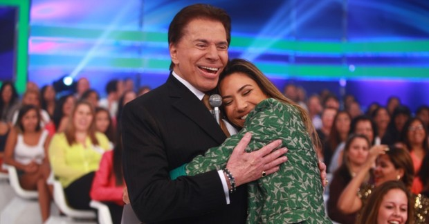 Silvio Santos com Patrícia Abravanel (Foto: Divulgação/SBT)