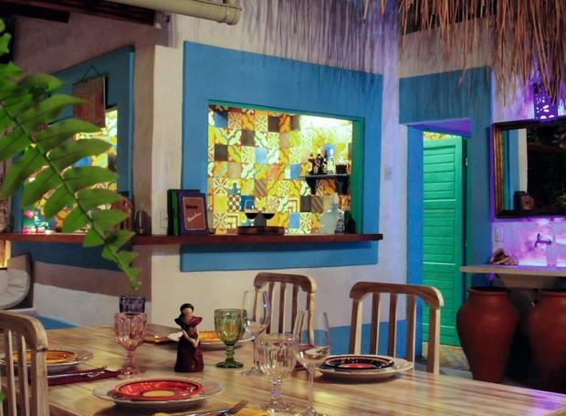 Ambiente colorido do restaurante português Dom Bacalhau (Foto: Divulgação)