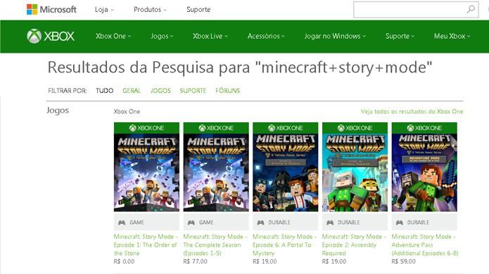 Faça uma busca por Minecraft: Story Mode na loja da Microsoft e verá o primeiro episódio nos resultados para Xbox One e Xbox 360 (Foto: Reprodução/Rafael Monteiro)