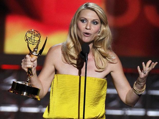 Claire Danes desbancou Glen Close e levou o prêmio de melhor atriz em série dramática (Foto: Reuters)