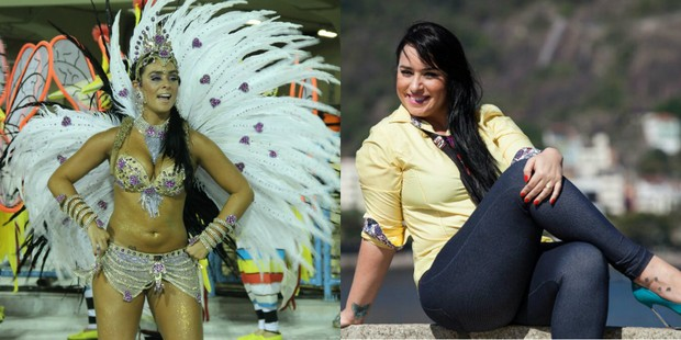 Luciana Picorelli no carnaval de 2012 e hoje (Foto: Roberto Filho/ AgNews | Divulgação)