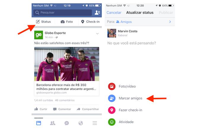 Acessando a ferramenta para marcar pessoas no Facebook pelo celular (Foto: Reprodução/Marvin Costa) (Foto: Acessando a ferramenta para marcar pessoas no Facebook pelo celular (Foto: Reprodução/Marvin Costa))