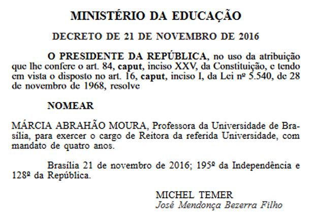 Trecho do Diário Oficial da União que traz nomeação da reitora Márcia Abrahão (Foto: Reprodução)