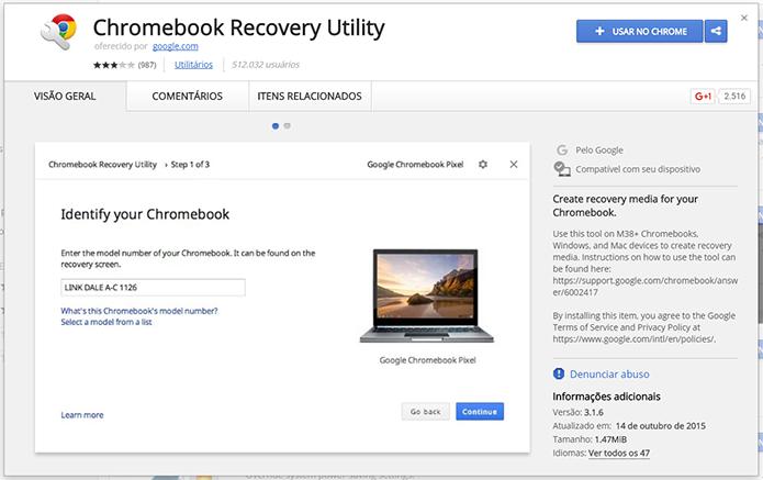 Abra o Chromebook Recovey Utility (Foto: Reprodução/Filipe Garrett)