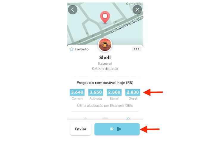 Visualizando os valores de combustíveis de um posto de gasolina pelo Waze para iPhone (Foto: Reprodução/Marvin Costa)