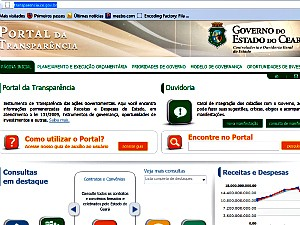Site do governo do estado ainda no contm informaes especficas previstas na lei. (Foto: Governo do estado do Cear/divulgao)