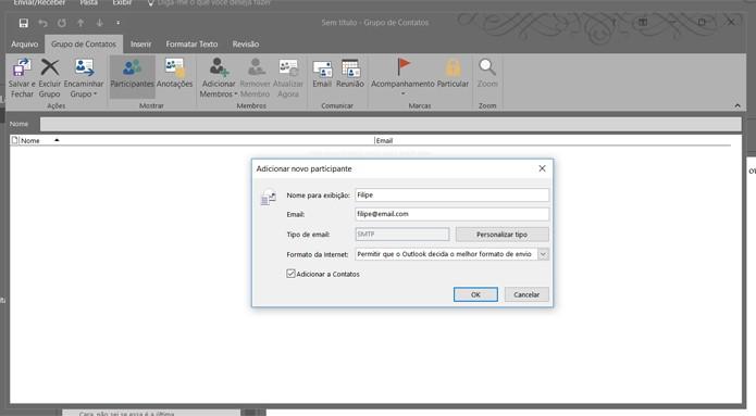 Outlook permite a criação de grupos de contatos para facilitar o envio de e-mails para destinatários recorrentes (Foto: Reprodução/Filipe Garrett)