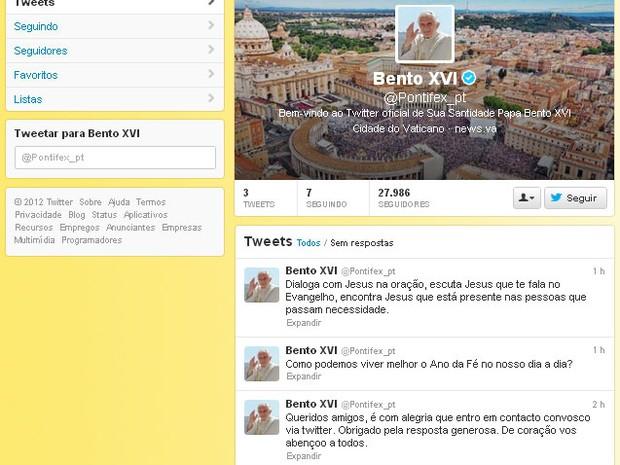 Primeira postagem do papa Bento XVI no Twitter (Foto: Reprodução)