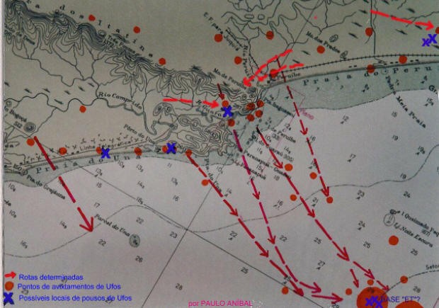 Esboço do mapa para o roteiro ufológico (Foto: Divulgação / Paulo Aníbal)