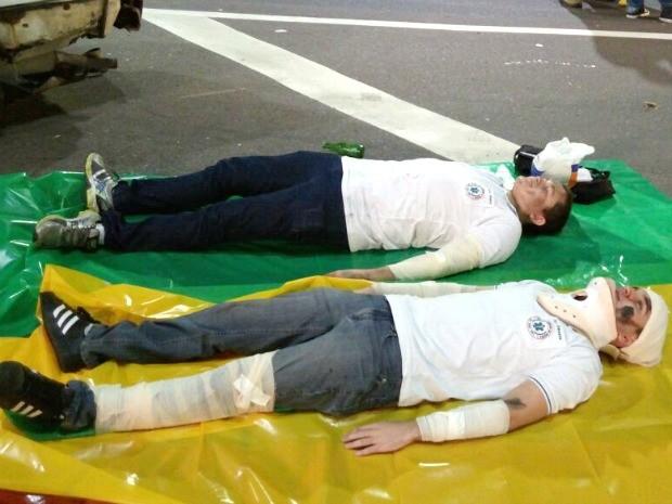Simulação de um acidente de transito foi realziada na avenida Torquato Tapajós, Zona centro Sul (Foto: Divulgação/DETRAN)