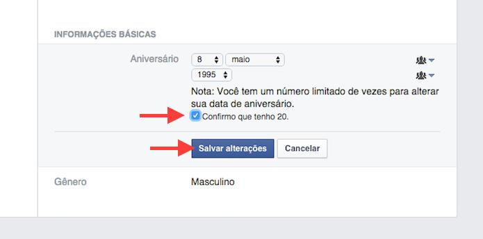Confirmando a alteração de idade de uma conta de usuário no Facebook (Foto: Reprodução/Marvin Costa)