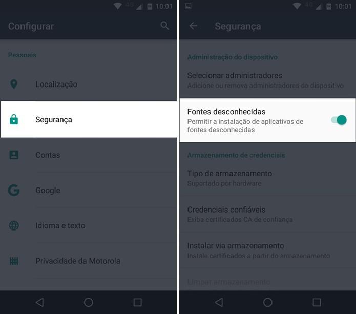 Habilitando a instalação de apps por fontes desconhecidas (Foto: Felipe Alencar/TechTudo)