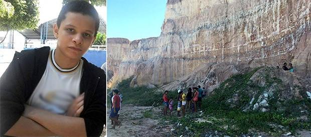 Corpo de João Pedro Lima Pontes foi encontrado nas falésias da praia de Cotovelo, no litoral Sul do estado (Foto: Arquivo Pessoal e Mariana Rocha)