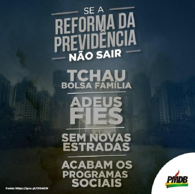 Post do PMDB nas redes sociais sobre reforma da Previdência (Foto: Reprodução/ Facebook PMDB)