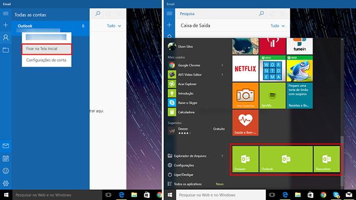 E-mail do Windows 10 pode fixar atalhos para pastas e contas no menu Iniciar (Foto: Reprodução/Elson de Souza)
