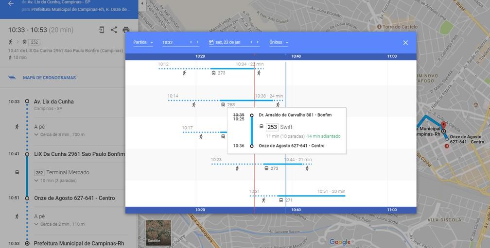 Informações sobre o transporte público de Campinas passaram a ser em tempo real (Foto: Reprodução / Google Maps)