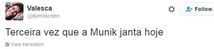 Tweet - Munik jantar (Foto: Reprodução da Internet)